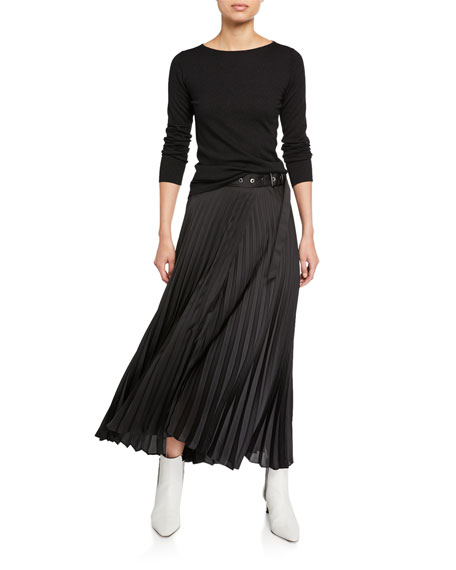 Pleated Wrap Skirt w/ Grommet Belt