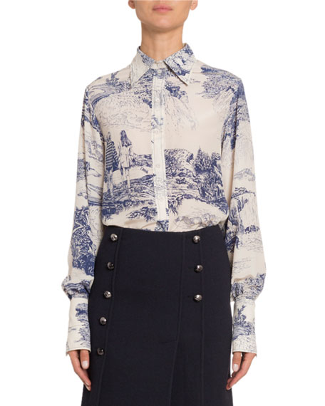 Toile Silk Button-Front Top
