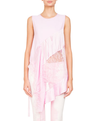 Sleeveless Mixed-Media Top