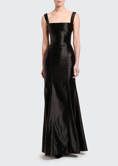 Stretch Duchesse Satin Square-Neck Gown