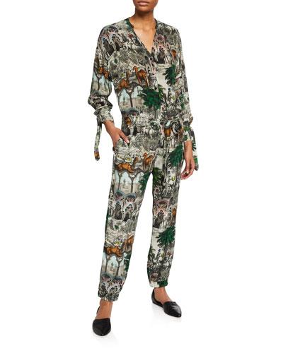 Jamal Arabian-Print Tie-Waist Jumpsuit