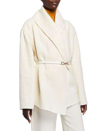 Harris Cashmere-Felt Wrap Jacket w/ Belt