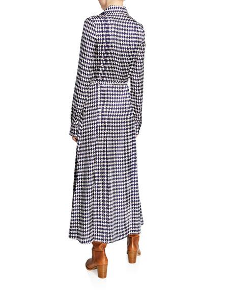 Vera Rhombus-Print Long-Sleeve Pintucked Silk Dress
