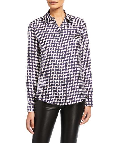 Henri Diamond-Print Silk Shirt