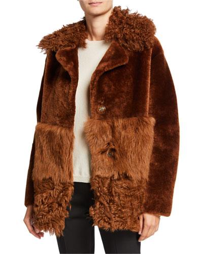 Patchwork Shearling Coat w/ Fur