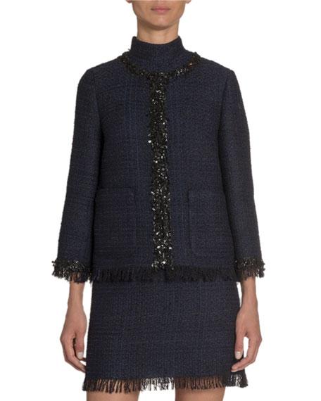 Bracelet-Sleeve Tweed Jacket