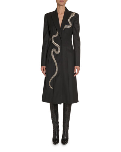 Snake-Embroidered Wool Coat
