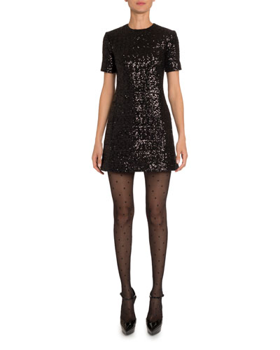 Sequined Mini Shift Dress