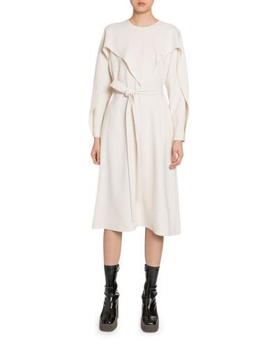 Flutter-Trimmed Jersey Midi Dress