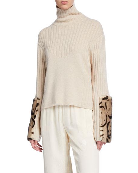 Leopard-Print Fur Print Wool-Cashmere Sweater
