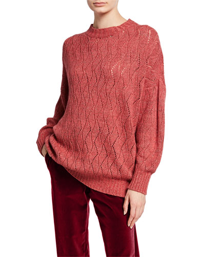 Metallic Cable-Knit Pointelle Sweater