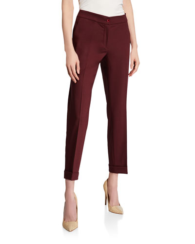 Stretch Wool Cuffed Trousers