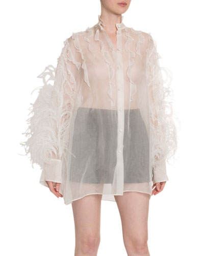 Button-Front Organza Blouse