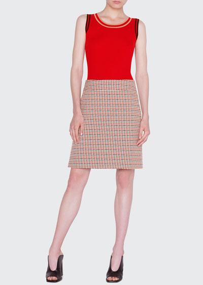 Contrast-Trim Sleeveless Wool Top