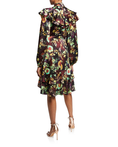 Ruffled Stretch Silk Floral Dress
