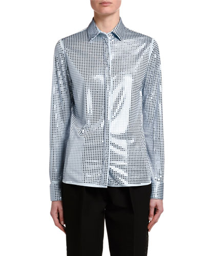 Mirrorball Jersey Button-Front Blouse