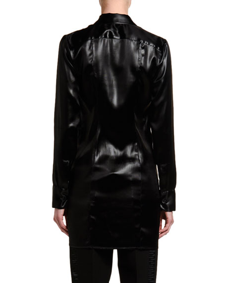Lacquered Satin Blouse with Ruffle Keyhole
