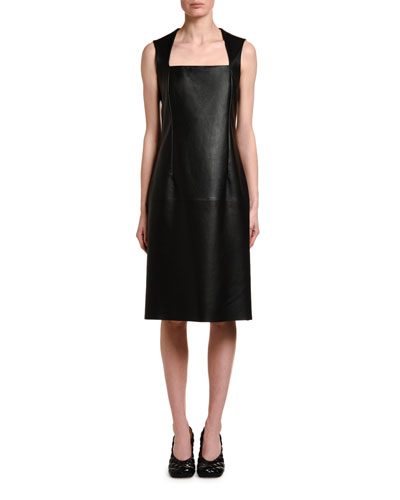 Sleeveless Square Halter-Neck Leather Dress