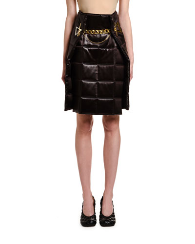 Lacquered Satin Quilted Wrap Skirt