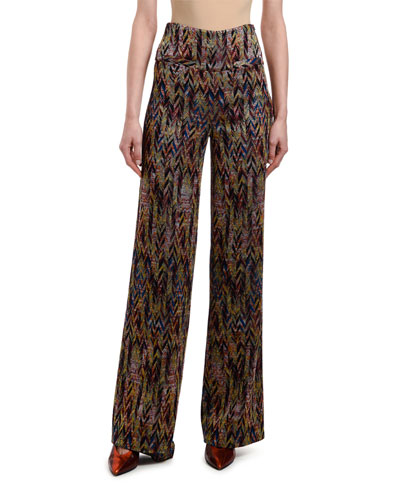 Chevron-Jacquard High-Rise Pants