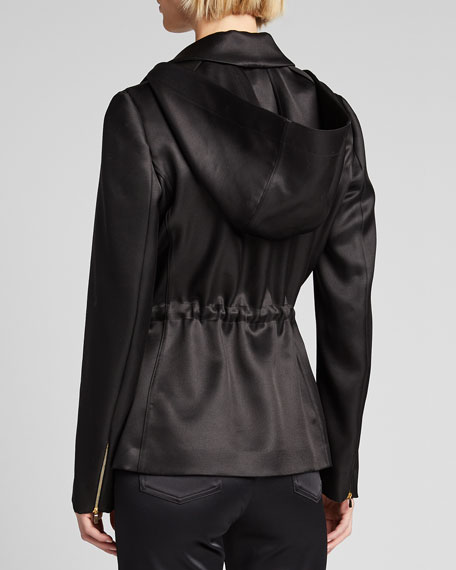 Satin Hooded Blazer Jacket