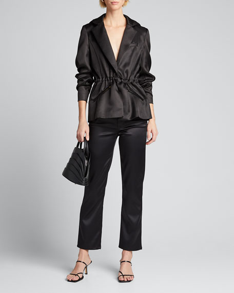 Image 1 of 1: Satin Hooded Blazer Jacket