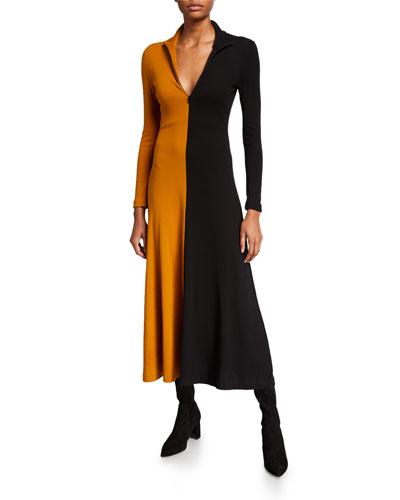 Cotton Long-Sleeve Zip-Front Turtleneck Dress