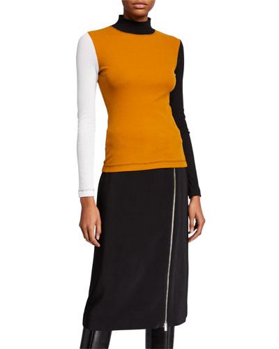 Colorblock Mock-Neck T-Shirt
