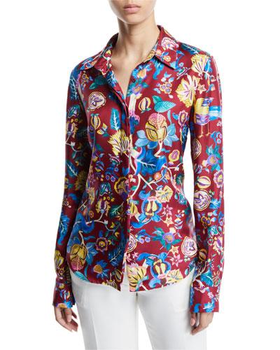 Henri Button-Front Floral-Print Silk Blouse