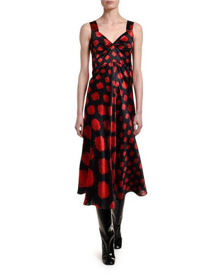 Pixel-Print Satin Midi Dress