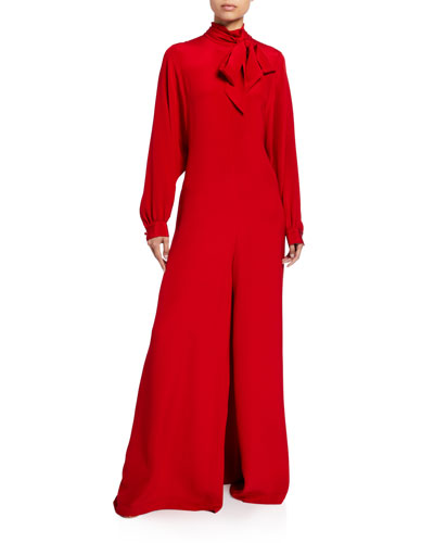 Silk Crepe Wide-Leg Jumpsuit
