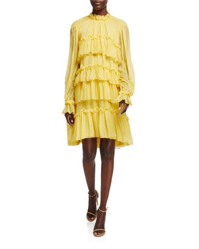 Tiered Ruffle Silk Chiffon Dress