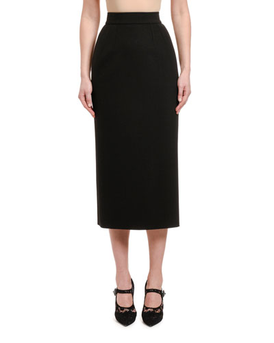 Double Stretch Wool Pencil Skirt