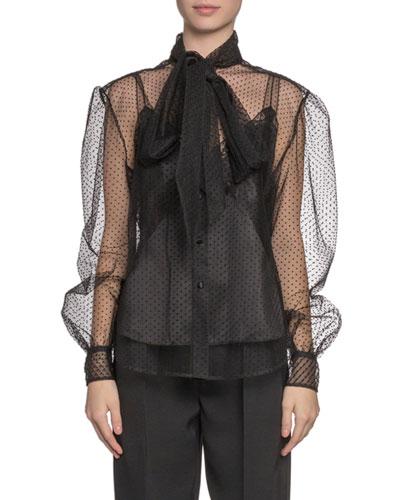 Silk Tie-Neck Button-Front Shirt