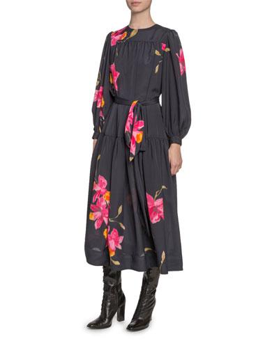 Floral-Print Taffeta Tie-Waist Dress