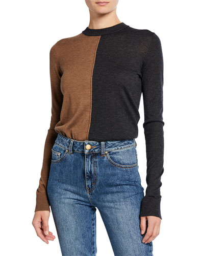 Two-Tone Cashmere Knit Top