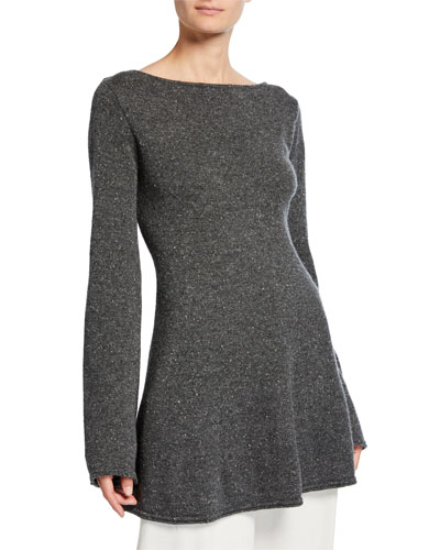 Cashmere Knit Boat-Neck Sweater