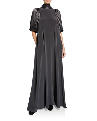 Japanese Stretch Crepe Puff-Sleeve Dress