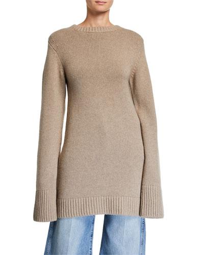 Harper Cashmere Crocheted-Elbow Sweater