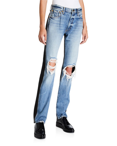 Kyle Mixed Denim and Leather Pants