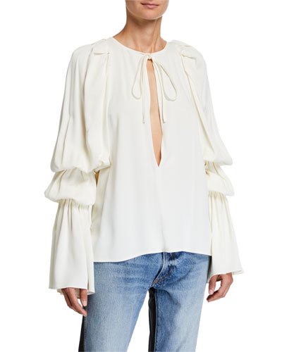 Cortez Tie-Neck Long-Sleeve Top