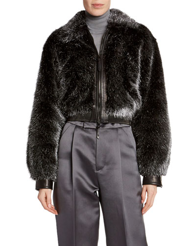 Foiled Faux-Fur Bomber Jacket
