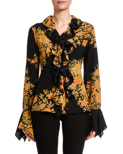 Rose Ruffled Button-Front Silk Blouse