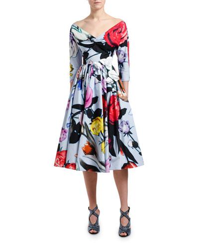 6bab55d164 Off-the-Shoulder Floral Poplin A-Line Dress Quick Look. Prada