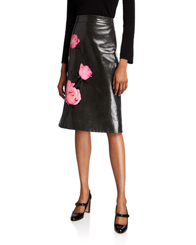 Flower Print Leather Skirt