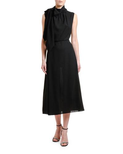 Tie-Neck Sleeveless Midi Dress