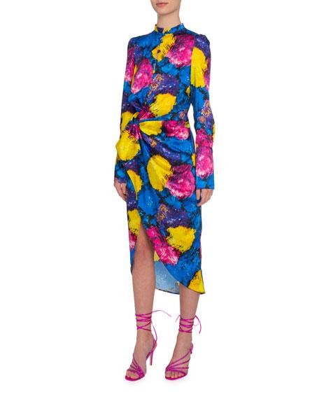Floral Print Asymmetric Cocktail Dress