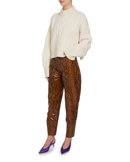 Python-Print Leather Cropped Pants