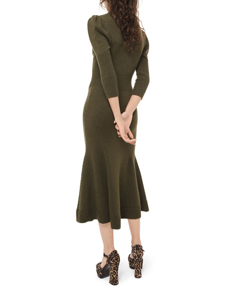 Cashmere Puff-Sleeve Midi Dress