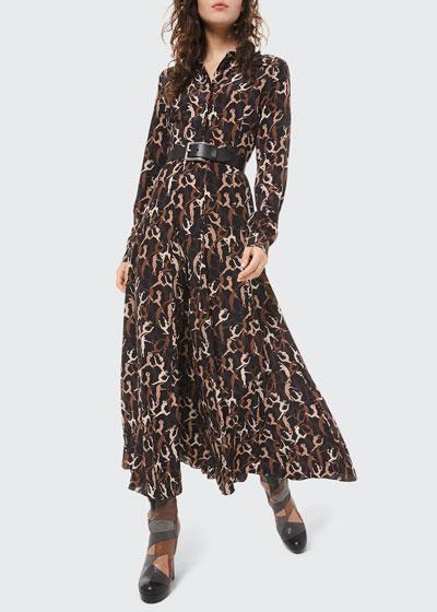 Dancer-Print Crushed Georgette Shirtdress